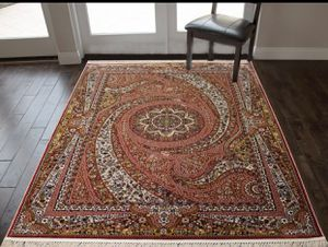 8/11 soft silk cotton rug classic floral design carpet salmon color. for Sale in Los Angeles, CA
