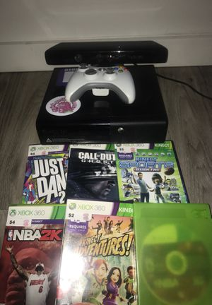 Xbox 360 + Kinect + 6 games (2k16 is in the blank sleeve) + one controller for Sale in Seattle, WA
