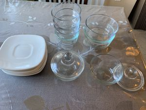 Pyrex/Anchor bowls and set of 6 saucers for Sale in Bellevue, WA