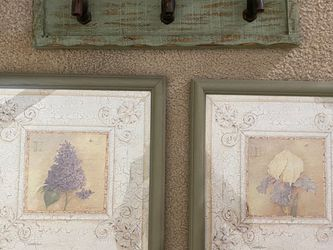 Floral Picture Set & Green Wall Faucet Decor for Sale in Hilliard,  OH