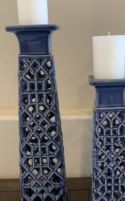 Blue Ceramic Candle Holders for Sale in Bonney Lake,  WA