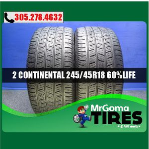 2 CONTINENTAL CONTIPROCONTACT SSR RFT 245/45/18 USED TIRES NO PATCH BMW 2454518 for Sale in Palmetto Bay, FL