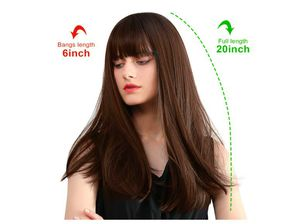 TopWigy Dark Brown Wig with Bangs Brunette Wig with Dark Roots Synthetic Long Straight Wigs for Women Daily Use, 20 Inches for Sale in Rancho Cucamonga, CA