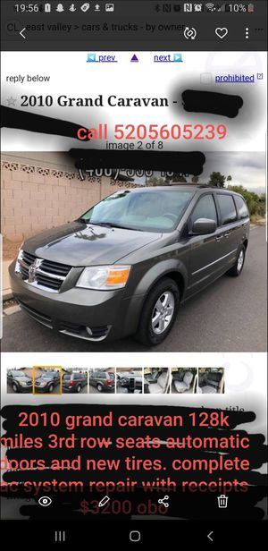 2010 Grand Caravan. New ac system with receipts, newer tires freshly serviced. 3rd row seats and automatic doors/ tailgate 128k miles clean title for Sale in Arizona City, AZ