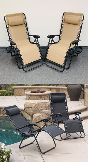 (NEW) $70 (set of 2) Tan or Black Adjustable Zero Gravity Lounge Chair Patio Pool w/ Cup Holder for Sale in Pico Rivera, CA