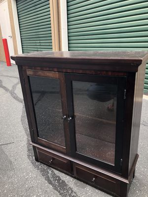 Wooden display case/ bar / dish ware display etc. - with two lower drawers little dirty needs a wipe down Really nice wood for Sale in Daly City, CA