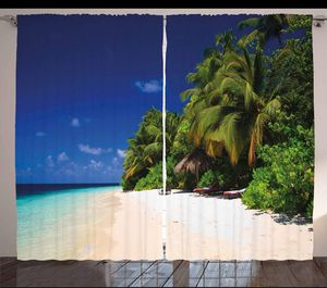 108 x 108 Curtains Tropical Beach Backdrop Living Bed Room Patio Door Home Decor Pam Trees Island for Sale in Orlando, FL