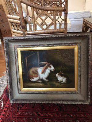 Rabbit oil painting for Sale in Midlothian, VA