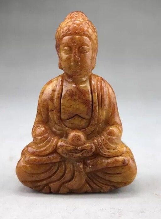 Natural Pure Jade Buddha praying statue