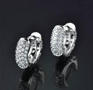 New Crystal Silver Tone Hoop Earrings with velvet gift bag for Sale in Aldie, VA