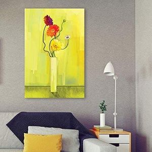((FREE SHIPPING)) Canvas wall art - flowers in a vase on yellow background modern home decor Painting like print for Sale in New York, NY