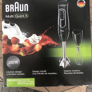 Braun MultiQuick 5 Immersion Hand Blender Patented Technology - Powerful 350 Watt - Dual Speed - Includes Beaker, Whisk, 505, Black for Sale in Artesia, CA