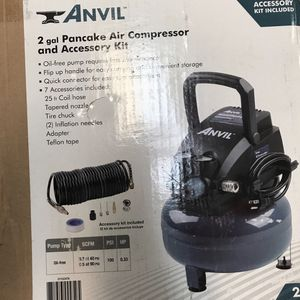 Portable Electric 2G Pancake Air Compressor w/ 7-Pieces Accessories Kit Open Box for Sale in Tacoma, WA