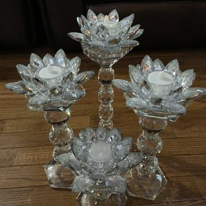 Crystal Candle Holder With Flower Tealights Holders for Sale in Herndon, VA