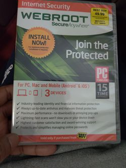 WebRoot Antivirus For 3 PC's for Sale in Bowie,  MD
