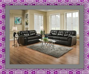 Black bonded leather sofa and loveseat for Sale in Rockville, MD