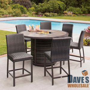 7 piece high dining patio furniture outdoor set chairs and table fire for Sale in Chula Vista, CA