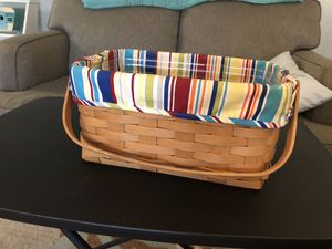 Longaberger basket with stripped liner & protector for Sale in Leesburg, FL