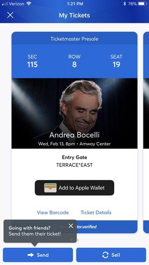 Andrea Bocelli Concert Tickets for Sale in Orlando, FL