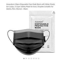 Brand new 50PCS Black Disposable Face Masks with Elastic Ear Loop, 3-Ply Earloop Breathable Non-Woven Mouth Cover Mask for Home, Park, Office for Sale in Queens,  NY