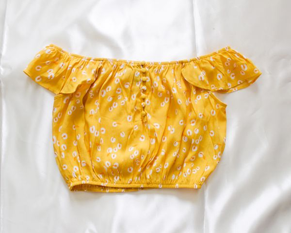 Yellow Print Cold Shoulder Cropped Top