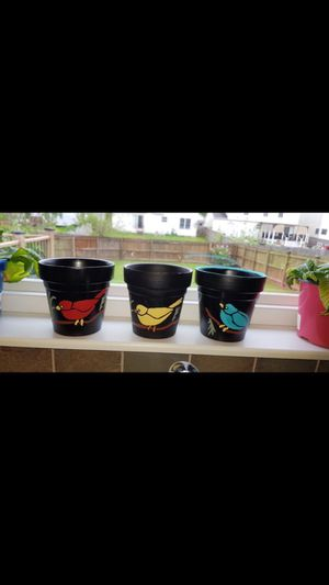 """Hand Painted 4"""" Windowsill Flower Pots Decorated with Birds ($30 for all) for Sale in Canal Winchester, OH"""