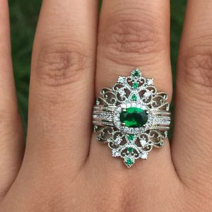 925 silver 925 stamped oval cut emerald ring size 7 jewelry accessory for Sale in Silver Spring, MD