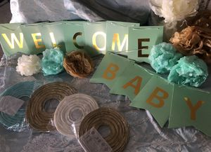 """Welcome baby banner, """"Oh Baby"""" Mylar ballons & 4 lanterns for Sale in West Covina, CA"""