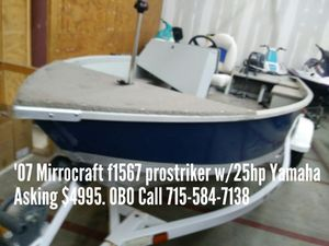 2007 Mirrocraft F1567 Prostriker w/25hp Yamaha for Sale in Shawano, WI