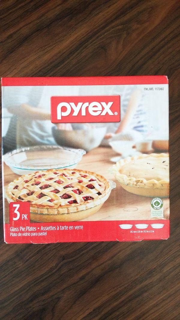 Pyrex 3pk Glass Pie Plate Pans Cookware