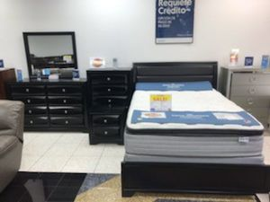 Montecarlo Black King Bedroom Set $699. Set includes bed, dresser, mirror and nightstand. NO CREDIT CHECK FINANCING for Sale in Tampa, FL