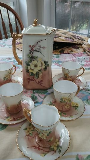 Antique Limoges/Havilland 12 pc. porcelain chocolate pot set for Sale in Montesano, WA