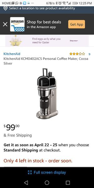 KitchenAid Coffee Maker with travel mug for Sale in Jacksonville, FL