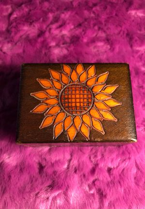 Sunflower vintage hand carved and painted wooden trinket lidded hinged box for Sale in Portland, OR
