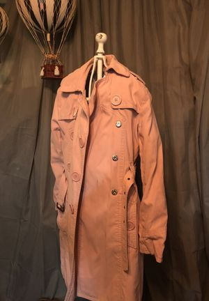 Marc Jacobs salmon/powder pink Trench coat jacket size large for Sale in Denver, CO
