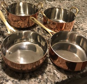Decorative Copper Pots and Pans - Set of 4 for Sale in Kirkland, WA
