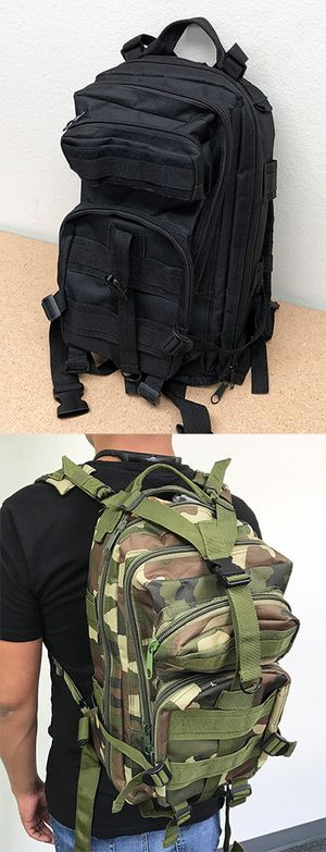 New $15 each 30L Outdoor Military Tactical Backpack Camping Hiking Trekking (Black/Camouflage) for Sale in South El Monte, CA
