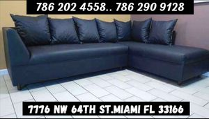Black leather sectional sofa available in different colors!!! for Sale in Miami, FL