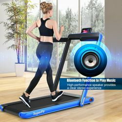 2.25 hp Blue 2-in-1 Folding Treadmill with Bluetooth Speaker LED Display for Sale in City of Industry,  CA