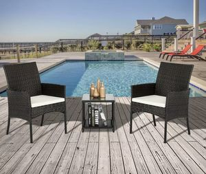 SHIPPING ONLY 3 Piece Patio Furniture Set For Outdoor Areas Black with Chairs and Coffee Table for Sale in Las Vegas, NV