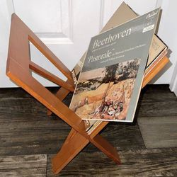 Vintage Mid Century Modern MCM Geometric Folding X Shape Mission Style Wood Magazine Holder Vinyl Record Rack Storage for Sale in Chapel Hill,  NC