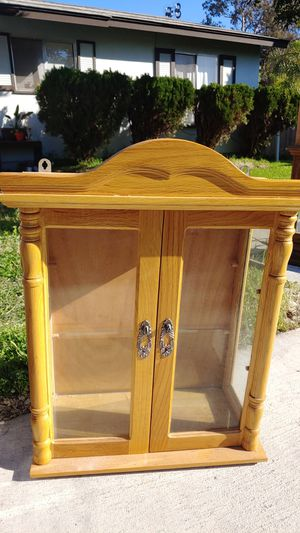 Small wooden cabinet with glass shelf on onside for Sale in San Diego, CA