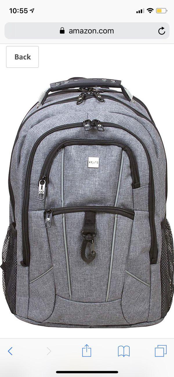 """Dejuno Commuter BackPack (Black) with 15.6"""" laptop pocket"""