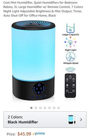 Cool mist humidifier with multicolored LED with remote for Sale in Cary, NC