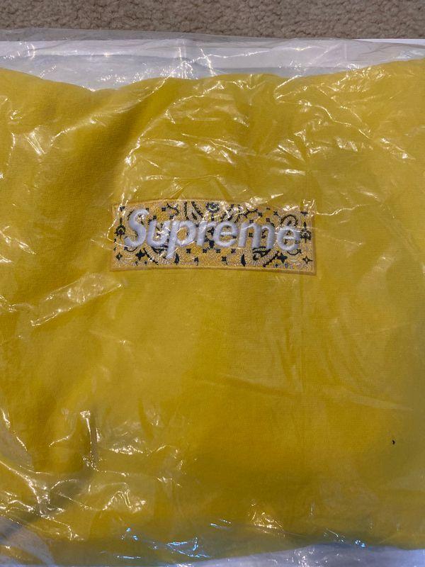 Supreme Bandana Box Logo Hoodie Large Yellow