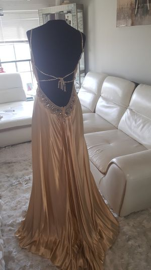 Gold Backless Gown with shawl for Sale in Bellmawr, NJ