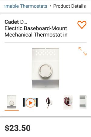 Double-Pole Electric Baseboard-Mount Mechanical Thermostat in White for Sale in Orlando, FL