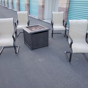 Nice 6 piece Outdoor Patio Set Furniture With Brand New Gas Fire Pit 🔥🔥🔥 FREE DELIVERY WITHIN 5 MILES 👍 for Sale in Las Vegas, NV