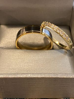 18K Gold plated Round Cut Engagement Diamond Matching Ring Set for Sale in Sacramento, CA