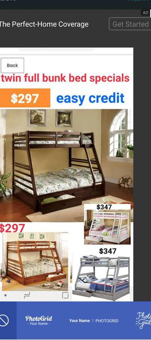 BRAND NEW TWIN FULL BUNK BED ADD MATTRESS TWIN AND FULL ADD FURNITURE AVAILABLE LITERA INDIVIDUAL MATRIMONIAL JW for Sale in Pomona, CA